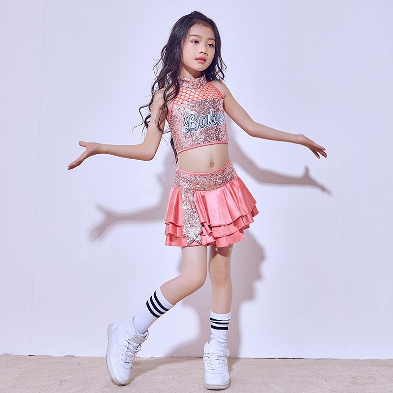 Kızlar Pullu Balo Salonu Caz Hip Hop Dans Yarışması Kostüm Tankı Üstleri etek İskoç takım elbise Çocuk Dans Giyim Giysi Giymek için