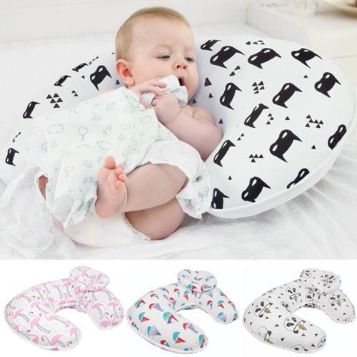 Lovely New 2PCS Newborn Baby Boy Girl Bear Anti-roll Pillow Flat Head Sleeping Positioner Feeding Pillow Nursing Baby Gift