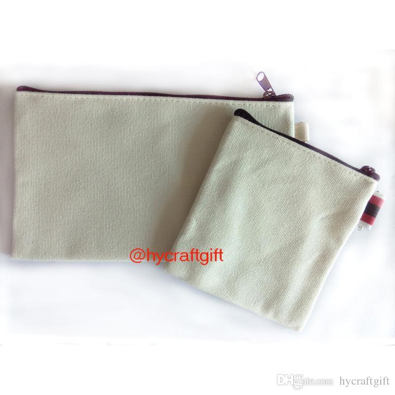 DIY Cream White canvas Makeup bags coin purses Lot blank plain cotton small cosmetic zipper bag Fashion wallets pencil cases mobile pouches