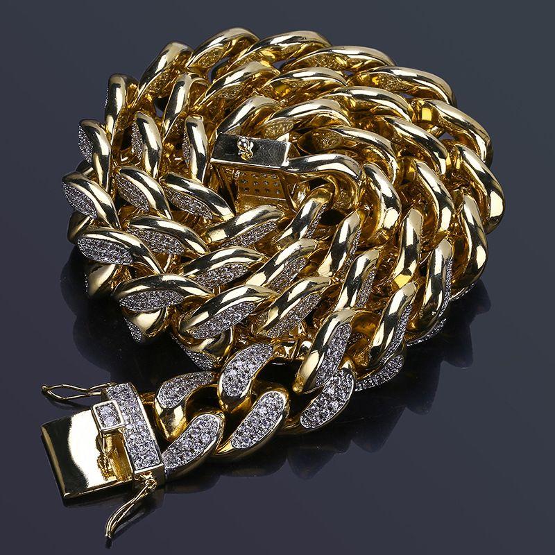 "18 ""22"" nova moda cobre cor banhado a ouro gelado out bling cz pedra 18mm pulseira de hip hop masculino jóias pulseira"