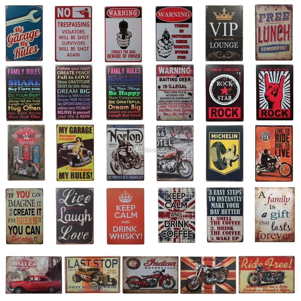 Vintage Retro Wall Decor Tin Signs Iron Motor Oil Wall Bar Pub Metal Plaque Club
