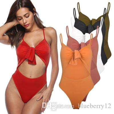 Frauen Sexy Bikini Einteiler Feste Badeanzüge Neues Design Bogen Push Up Aushöhlen Badebekleidung Für Sommerurlaub