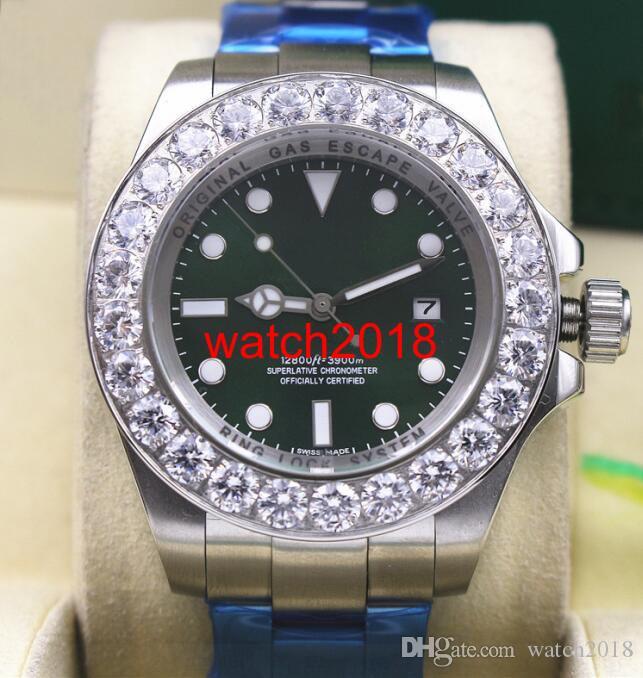 Niewykorzystany Zegarek Zielony Dial 116660 44mm Większy Diament Ceramiczny Bezel Automatyczne Mechaniczne Mężczyźni Zegarki Najwyższej Jakości Luksusowy Zegarek