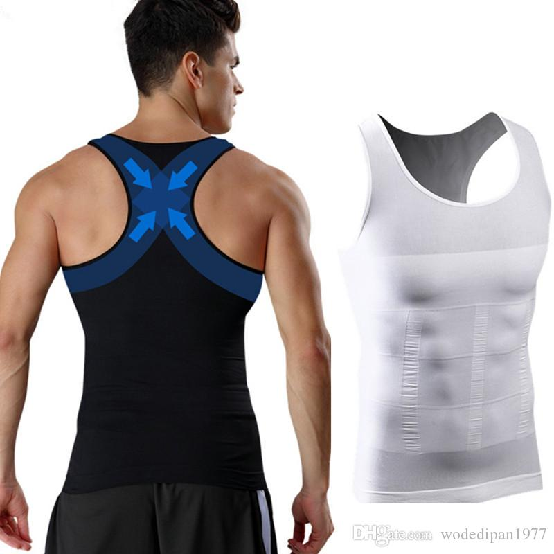 Mens Body Shapers Fitness Tank Tops Sexy Elastic Beauty Abdomen Tight Fitting UnderShirts Slimming Underwear Shape Vests