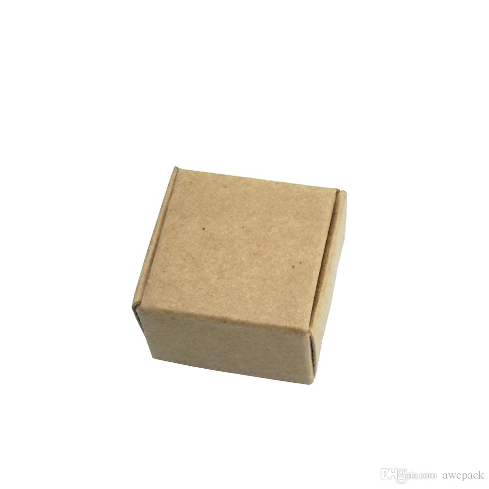 50pcs/lot 3.7*3.7*2cm Mini Gift Earring Package Kraft Paper Boxes Jewelry Decoration Cardboard Box Retail