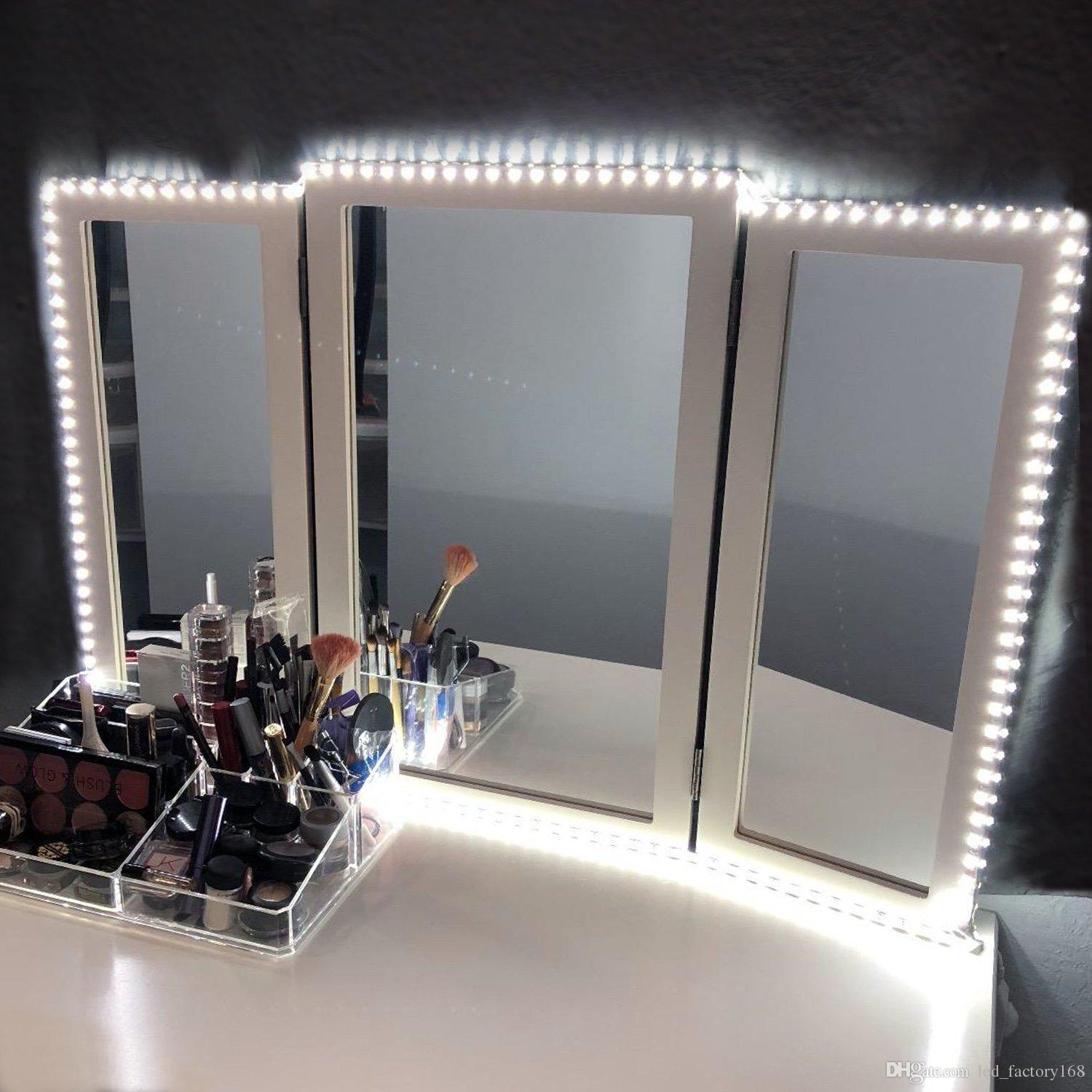 quite nice 89ca0 41fac 2019 Hollywood Style LED Vanity Mirror Lights Kit For Makeup Dressing Table  Vanity Set 11ft Flexible LED Light Strip 6000K Daylight White With Di From  ...