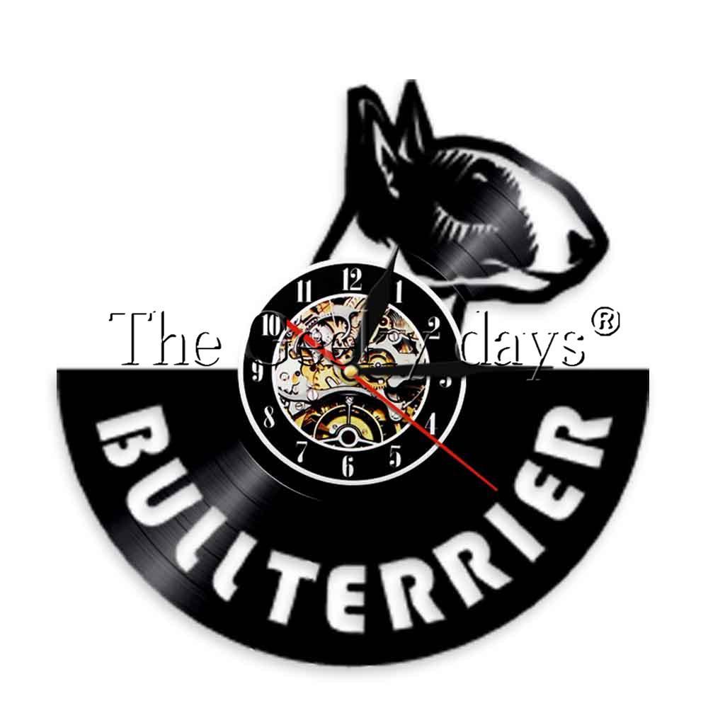 Filhote de cachorro 1Piece Inglês Bullterrier registro relógio de parede do cão espiral Relógio de parede Doggie Pet Assista amantes presente