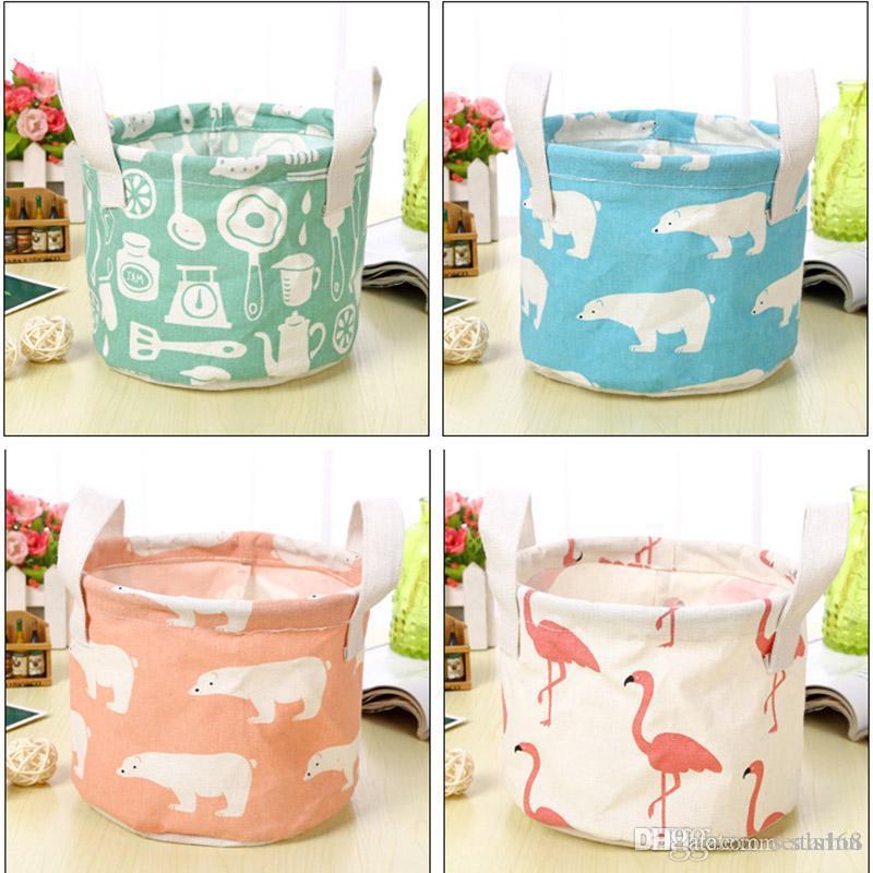 New 2018 Flamingo Bear Storage Baskets Bucket Kids Room Toys Bins Clothing Handle Organizer Laundry Bags Box WX9-394