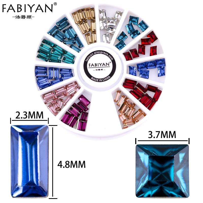 Wheel Crystal Tips Jewelry Decoration Square Metal Acrylic Glitter Gem DIY Design UV Gel Polish Manicure Tools Colorful Nail Art