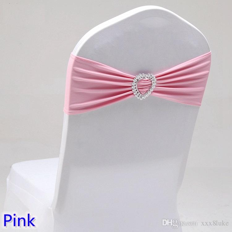 Pink colour wedding chair sash with heart buckle lycra band spandex sash bow tie For Wedding Banquet Decoration for sale