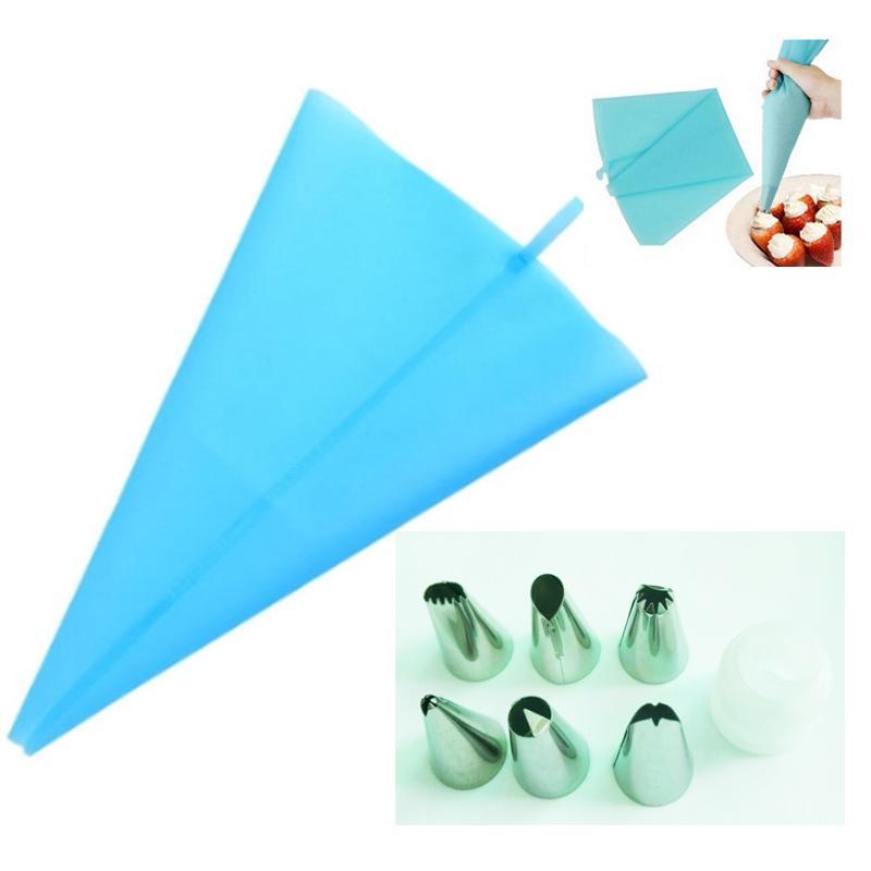 Toptan-1x uzunluk silikon buzlanma Boru krem pasta çanta + 6X Paslanmaz Çelik meme set Kek Dekorasyon ipuçları set KH021