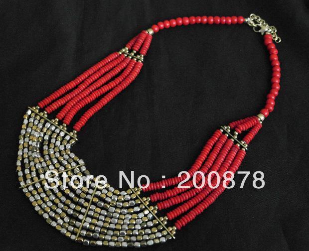 TNL507 Incrível Tibetano Coral Cor multi-camada OX osso frisado colar, colorido BOHO 2013 moda, nova chegada