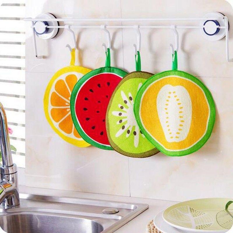 شنقا المطبخ منشفة اليد جميل فاكهة طباعة ستوكات مناشف سريعة الجفاف تنظيف خرقة صحن القماش مسح منشفة