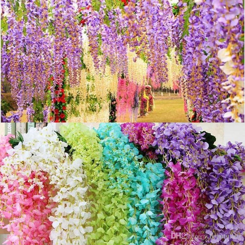 decorazione di nozze Fiori di edera artificiale con foglia Glicine di seta Vite di fiori in rattan per centrotavola di nozze Bouquet Garland Home