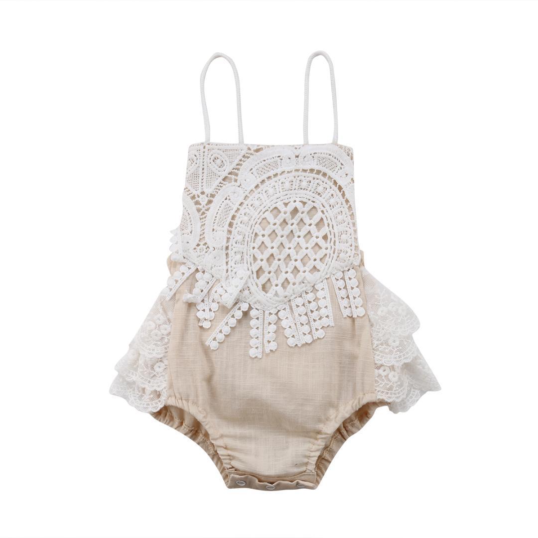 Prenses Yenidoğan Bebek Kız Dantel Romper Kolsuz Backless Kayış Tutu Etekli Jumpsuit Kıyafetler Eşofman Sunsuit Giyim