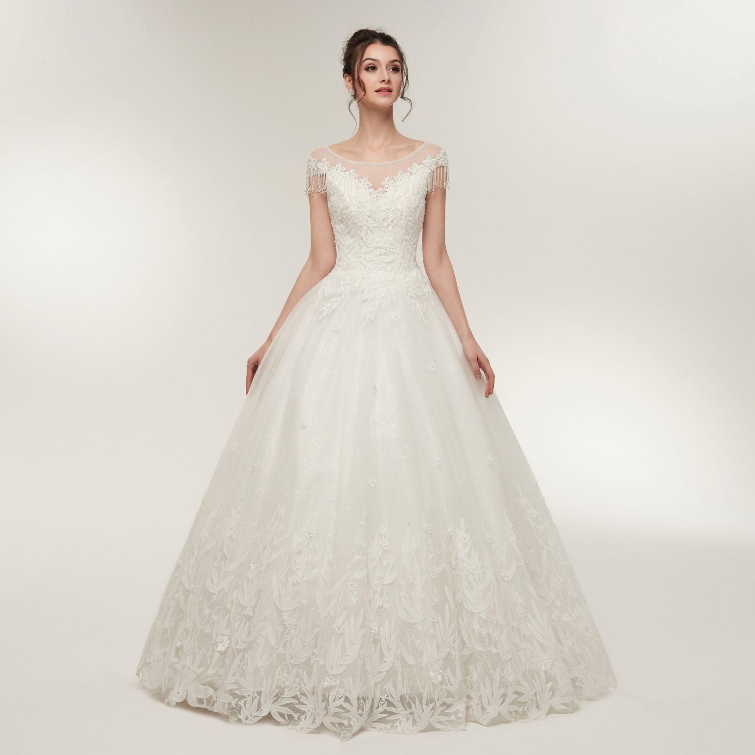 Vestidos de Novia Wedding Dress Floor Length Key Hole Back wedding dresses Lace Up Back Robe de Mariage Bridal Gown Party Dresses S640