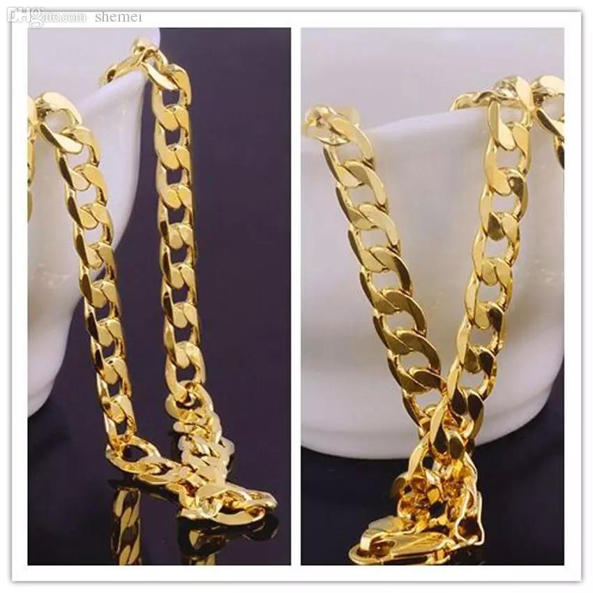 Al por mayor-sólido 18k oro amarillo lleno de bordillo cubano collar para hombre de edad joyas de cadena 7mm