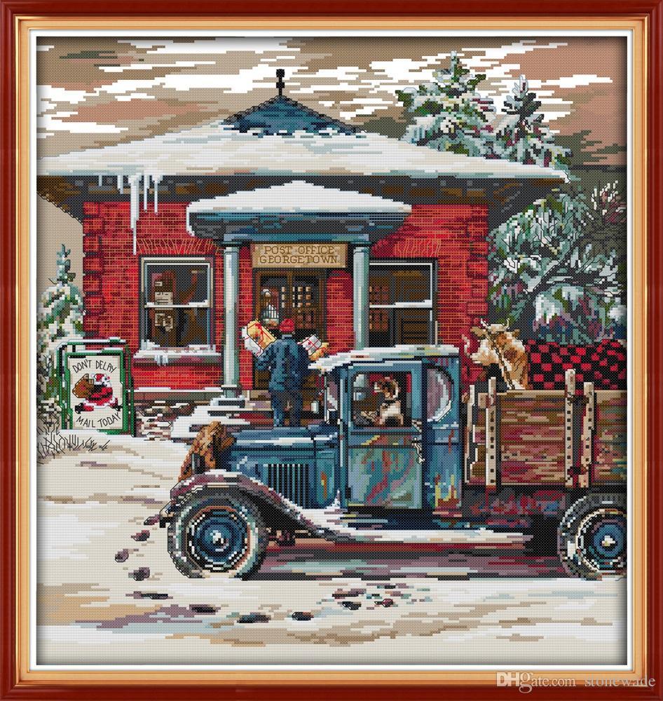 Weihnachten Post Office Malerei Wohnkultur Gemälde, Handmade Cross Stitch Stickerei Hand Sets gezählt Druck auf Leinwand DMC 14CT / 11CT
