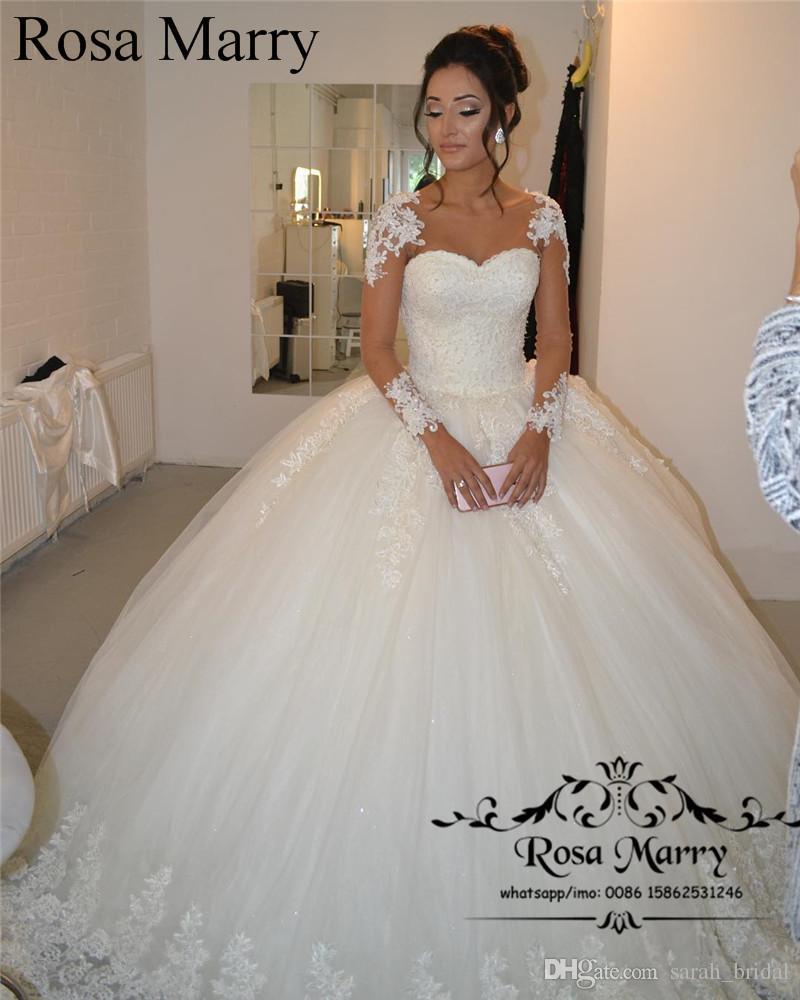 Acheter Princesse Dentelle Robe De Bal Robe De Mariage 2020 Manches Longues Perlee Victorian Arabe Robe De Novia Bellanaija Abayas Dubai Pas Cher Robe