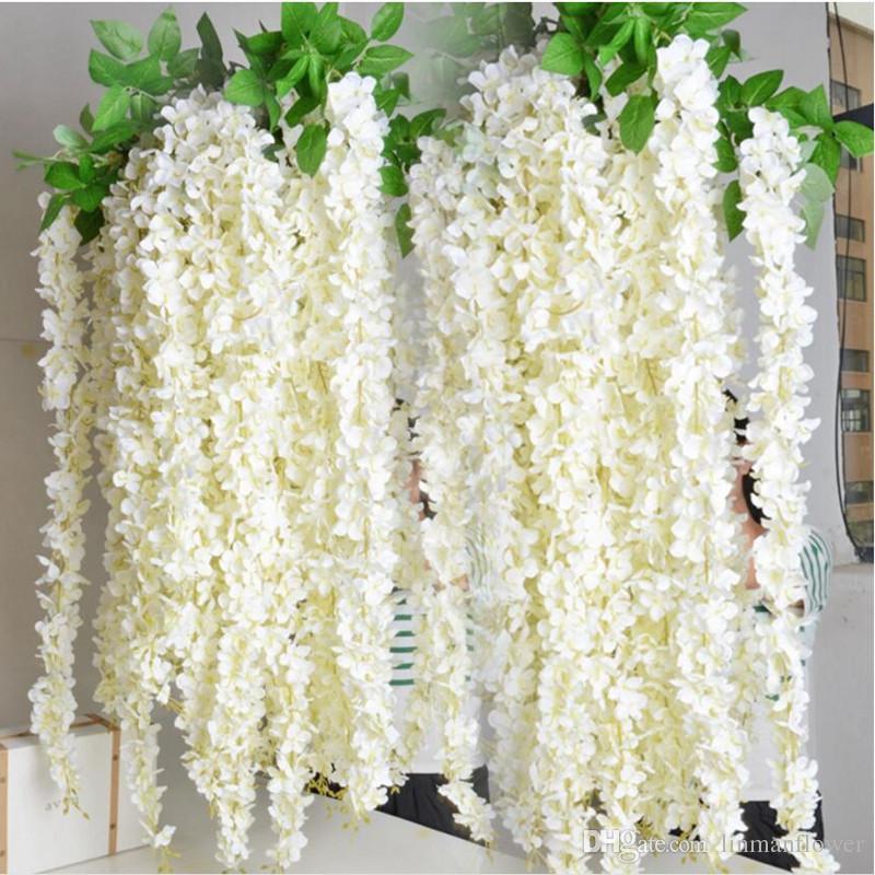 Pétalos de Hortensia Flor de Seda Vertical Natural Cadena para la Decoración de La Boda Larga Flor Pétalo Ramos de Novia Decoración