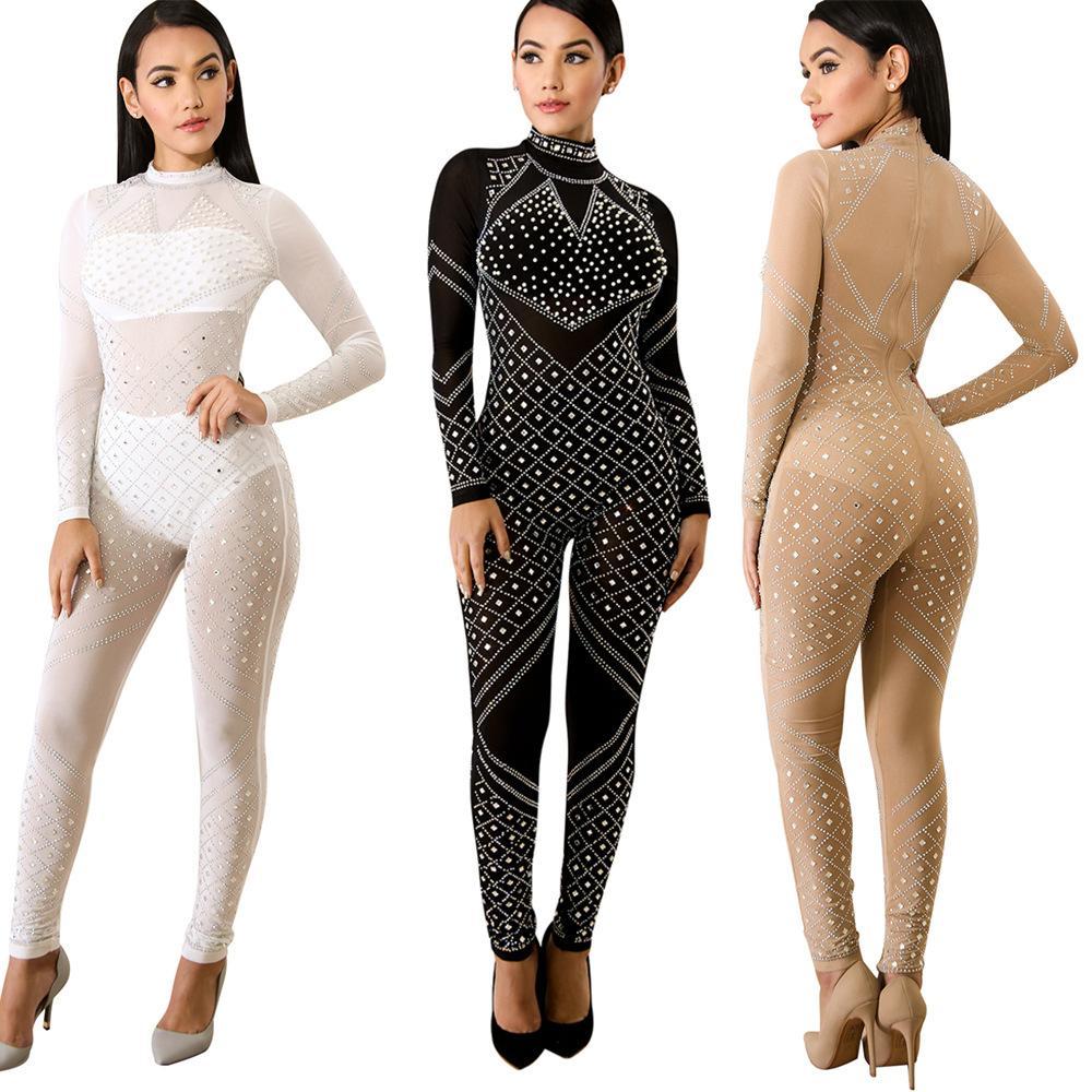 fashion ladies sexy jumpsuit mesh skinny bodysuit women full length rhinestone rompers women jumpsuit clubwear K8480