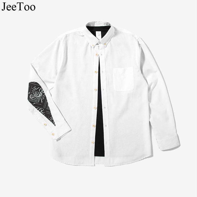 Camisas casuales de los hombres Masculina CARACTERÍSTICAS CARACTERÍSTICAS DE AGUA Gotas de agua Camisa de manga larga blanca vestido de manga larga girar Collor