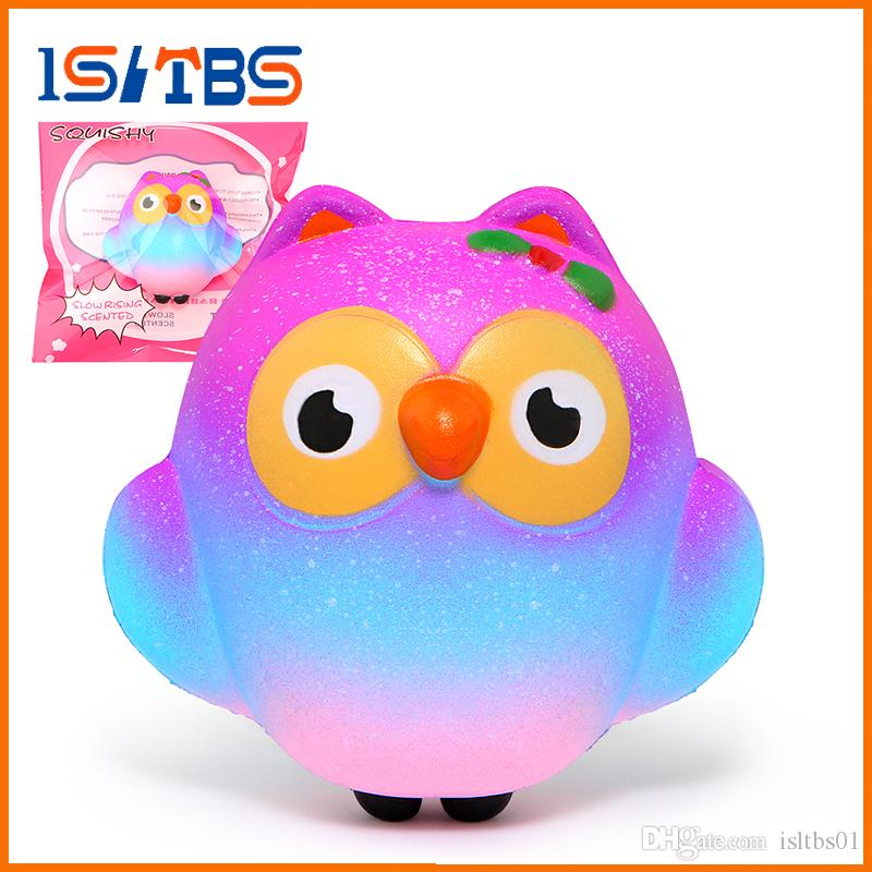 2018 Hot Sale Galaxy Squishy Cute Owl Slow Rising Cream Scented Squeeze Toys Original Packaging DHL Free Shipping