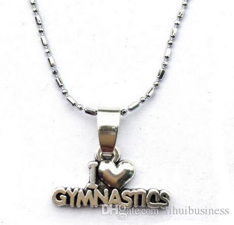 10pc/lot I Heart Gymnast Gift Gymnastics Necklace - Gymnastics Class Girls Gift Performance Lovers new arrival hot sale drop shipping top