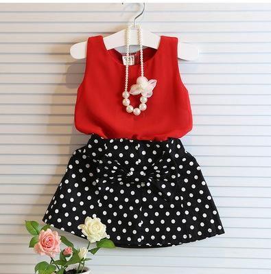 2018 новорожденных девочек комплекты одежды лето красный шифон жилет + лук юбка в горошек наряд детская одежда детская одежда костюм