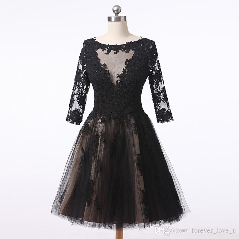 2019 Vintage Short Prom Dress with Sleeves Sheer Bateau Neck Black Lace Appliques Champagne Lining Custom Made Party Gowns Sheer Back
