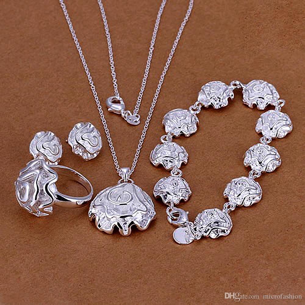 KASANIER Sales Women Fashion 925 Silver Jewelry Ring Set Rose Flower Stud Earrings Bracelet Necklace set New