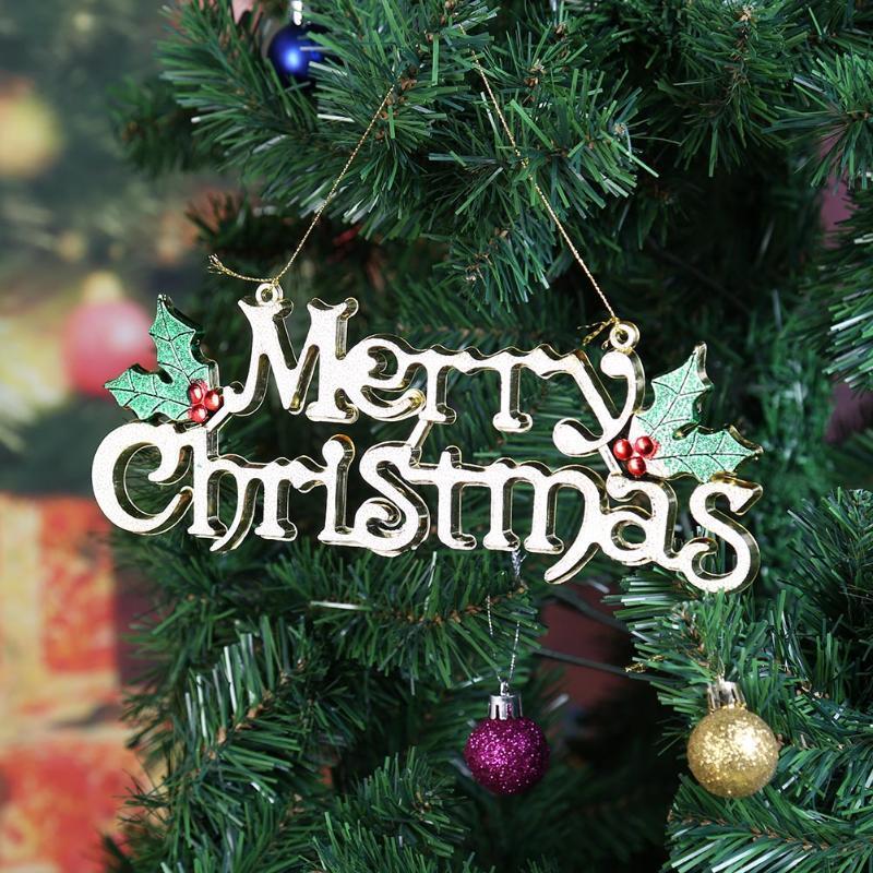 Manualidades Para El Hogar Navidad.Compre Feliz Navidad Adornos Colgantes Manualidades Feliz Navidad Carta Impreso Colgante Decoraciones De Navidad Para El Hogar Suministros Para