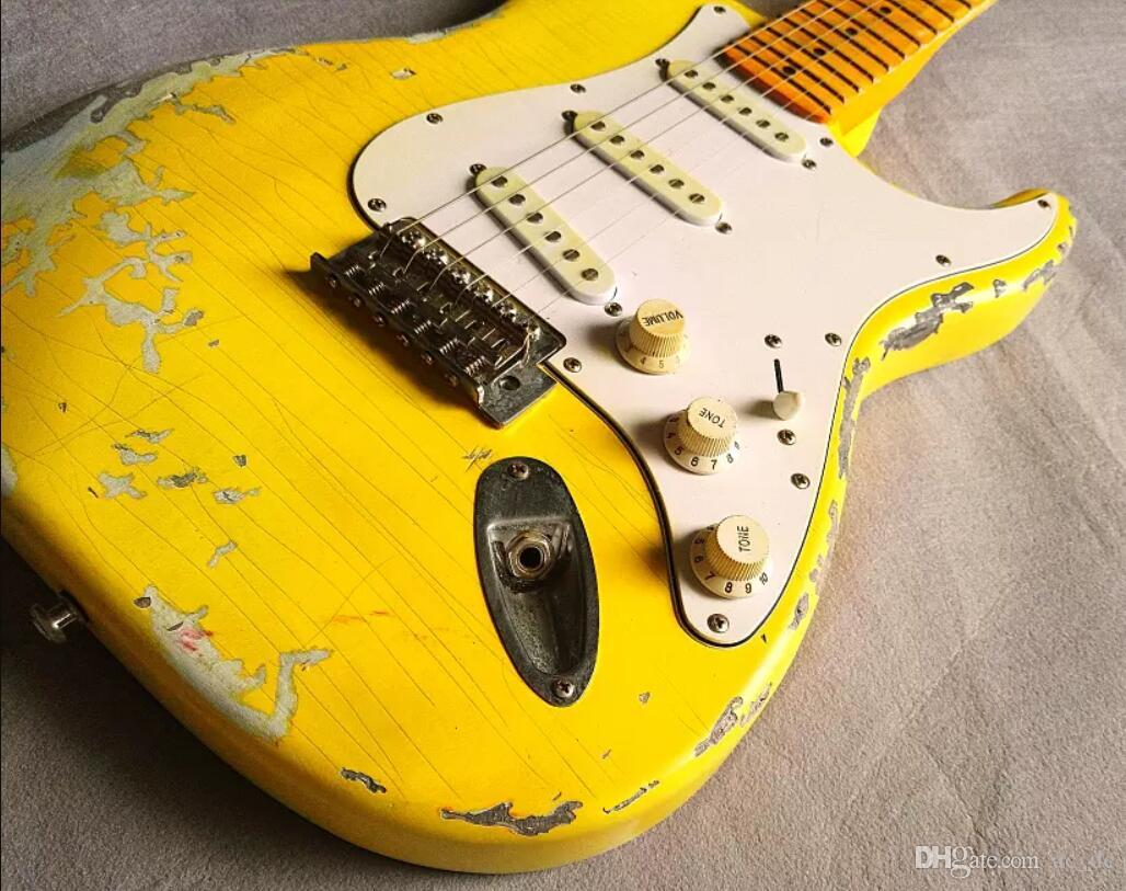 Пользовательские 100% Ручной Работы Желтый Strat Heavy Relic ST Электрогитара Урожай Хром аппаратных средств, Желтый Возраст Шеи, Nitrolacquer Paint