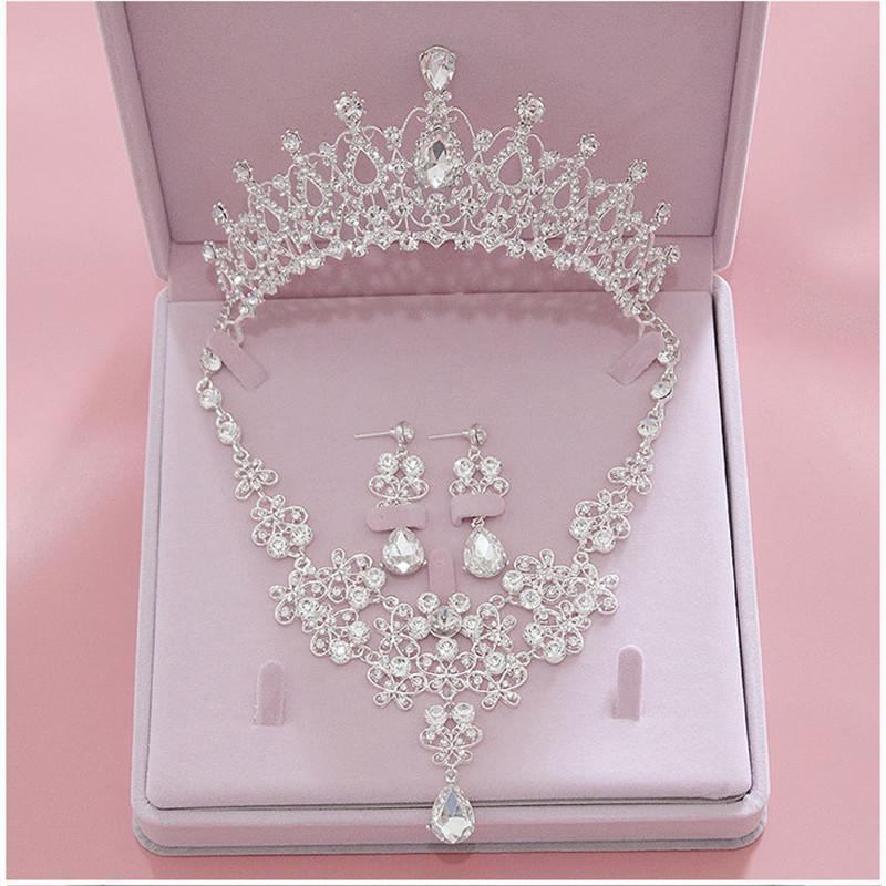 Venda inteira de Alta Qualidade Moda Conjuntos De Jóias De Noiva De Noiva De Cristal Do Casamento Das Mulheres Tiara Coroas Brinco Colar de Jóias de Casamento Acessórios