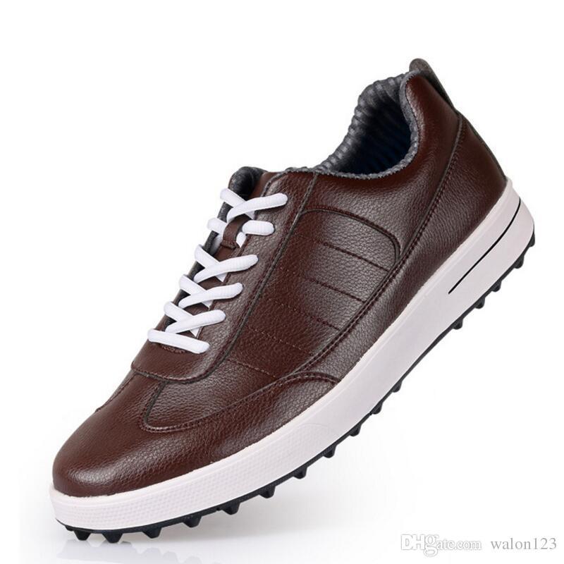 Zapatos de golf de los hombres de cuero genuino transpirable ultra ligero marrón zapatillas de deporte a prueba de agua zapatos de golf para hombre envío gratis