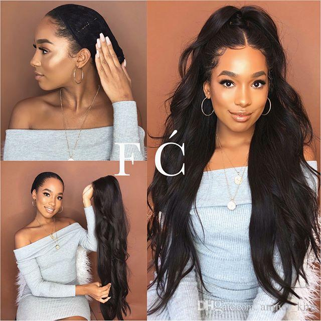Sexy 100% unprocessed raw virgin remy human hair long natural color natural straight full lace cap wig can be dyed for women