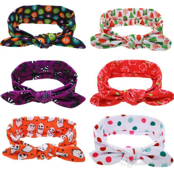 New Baby crianças orelhas de coelho dos desenhos animados headband árvore Cotton Halloween Cabelo Acessórios de Natal cabeça 6 estilos