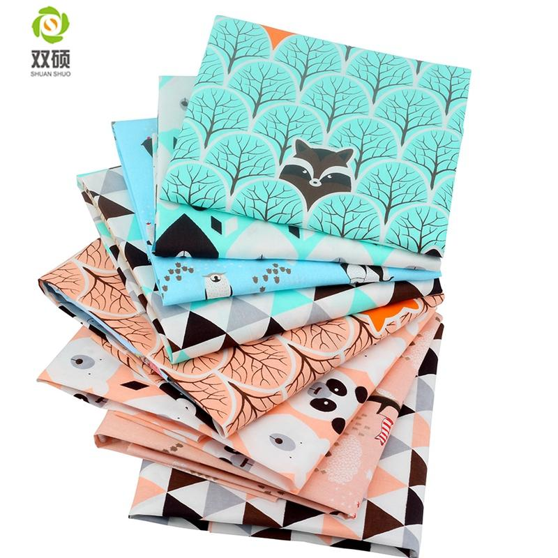 Shuanshuo Bear&&Penguin Cotton Patchwork Tissue Fabric Of Handmade DIY Quilting Sewing Baby&Children Sheets 40*50cm 8pcs/lot