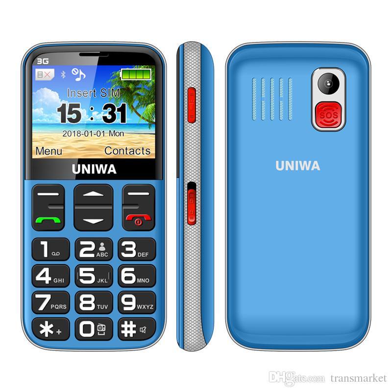 Uniwa V808G Velho Telefone Móvel 1400 mAh 2.31 Polegada Tela Curvo Celular 3G SOS Botão Lanterna Tocha Celular Para Idosos