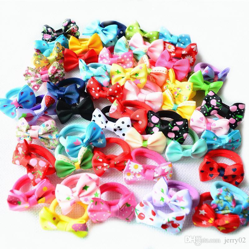 10 Pcs (5 pares) Sólida Ponto Pringting Mini Pequeno Arco Meninas Cordas de Cabelo Elástico Crianças Laços de Cabelo Rabo De Cavalo Titular Acessórios