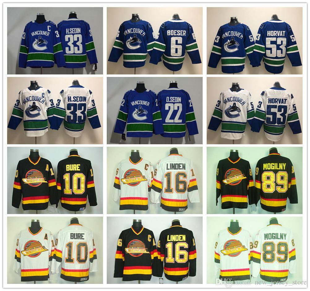 separation shoes aa3cf 06fb4 2019 New Vancouver Canucks Jerseys Hockey 53 Bo Horvat Jersey 22 Daniel  Sedin 6 Brock Boeser 33 Henrik Sedin Blue White All Stitched Men From ...