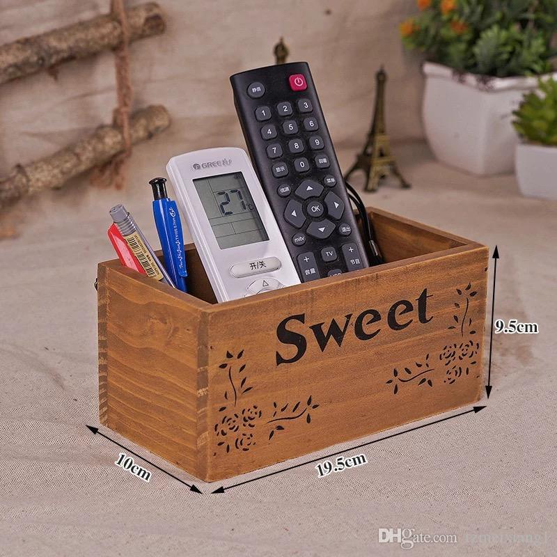 Retro Wooden Desktop Remote Control Storage Box Living Room Tea Table Sundries Storage Box