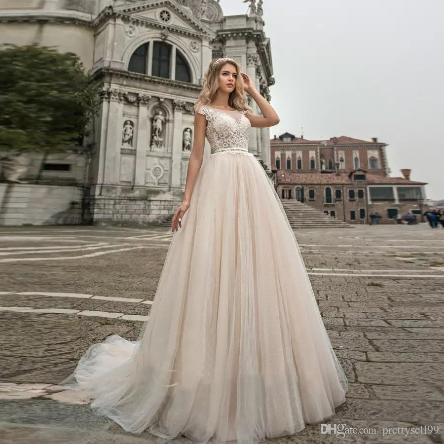 Discount Romantic Lace Wedding Dresses 2018 With Sash Appliques Cap Sleeve Scoop Neck Court Train Wedding Brial Gowns Wedding Bridal Dresses Wedding Designer Dresses From Prettysell99 129 65 Dhgate Com