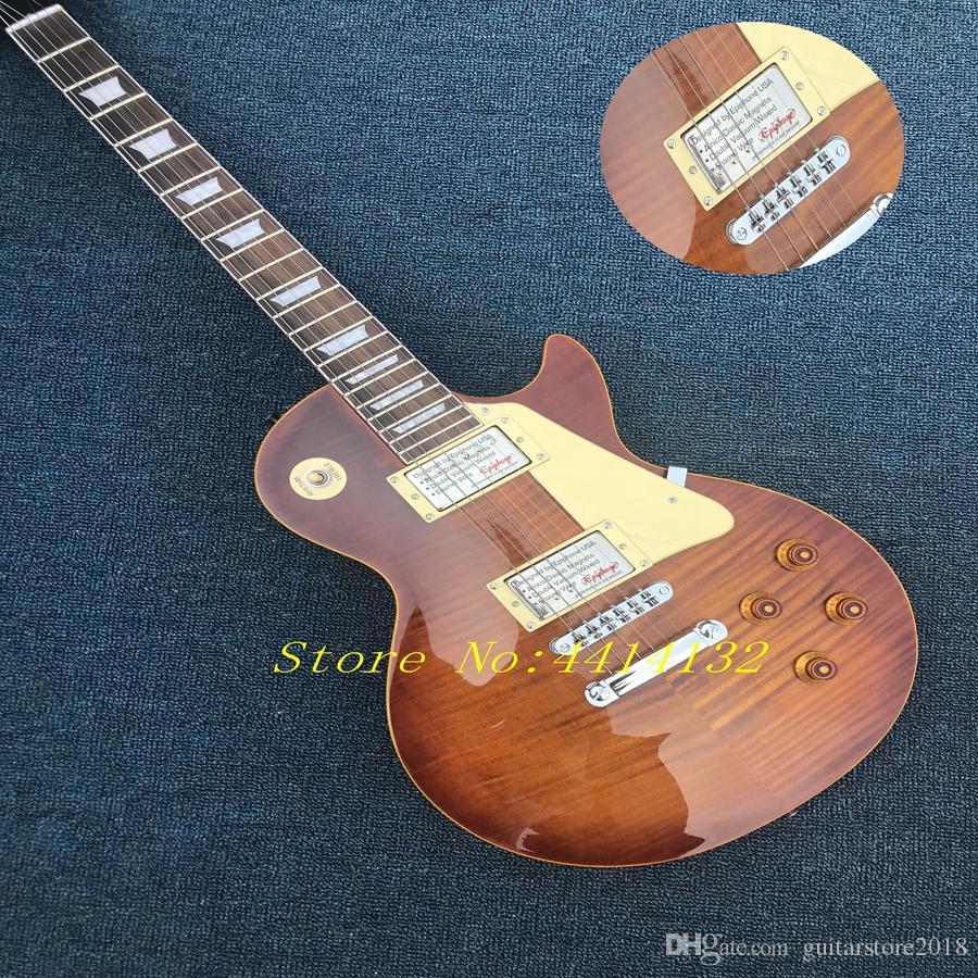China Gitarren-Tiger-Flammen-Ahorn-Spitzenkundengeschäft-Brown-Mahagonibody 1959 elektrische Gitarre R9