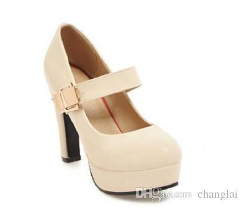 Ücretsiz göndermek Sıcak Yuvarlak kafa su geçirmez platformu Kaba topuk yüksek topuk tek ayakkabı büyük boy kadın ayakkabı