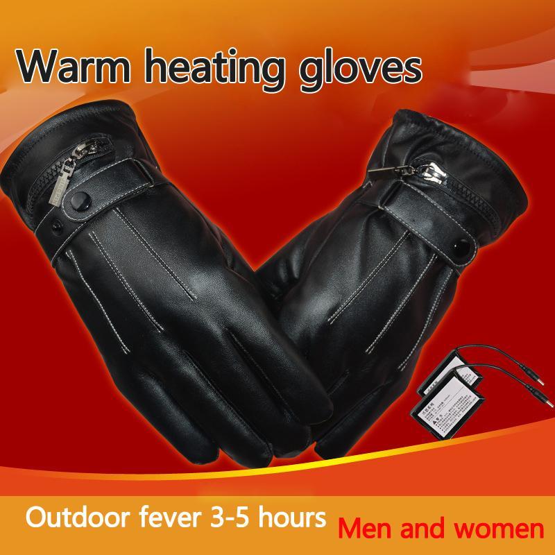 Теплая зима сенсорный экран электрический нагрев перчатки полный палец Велоспорт мотоцикл лыжные перчатки с нами зарядное устройство для спорта на открытом воздухе C18111501