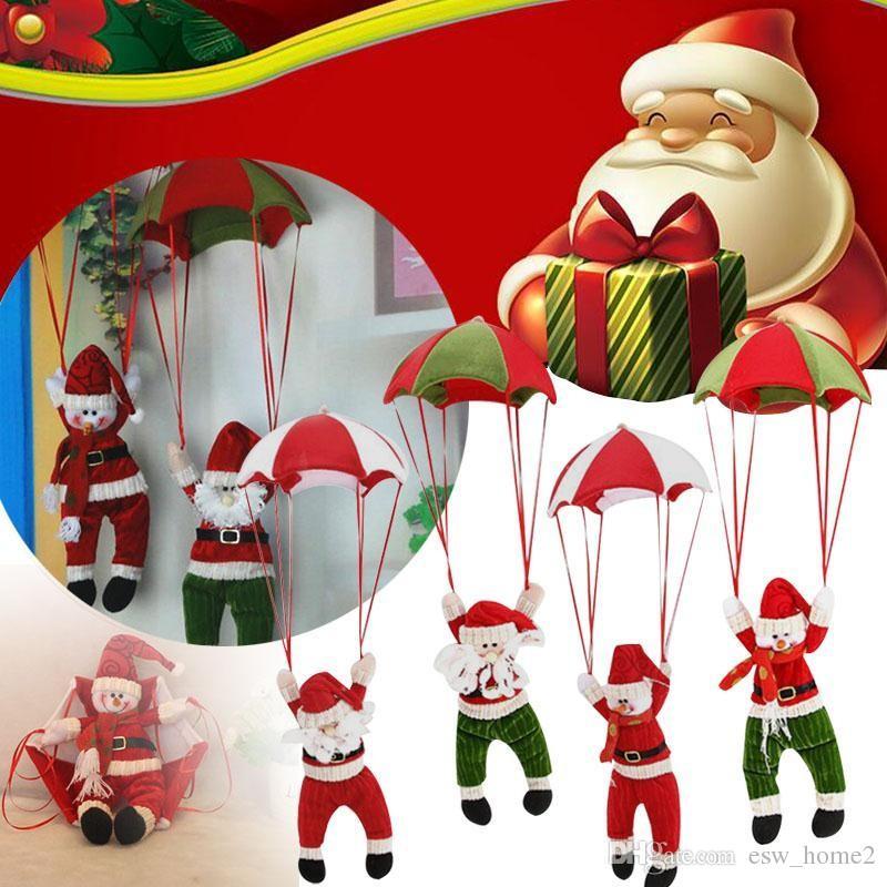 Симпатичные елочные украшения висит парашют Санта-Клаус Снеговик украшения для дома новогодние праздничные атрибуты подвеска