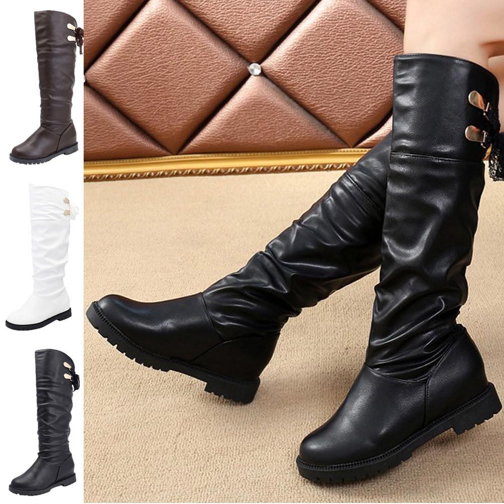 Compre YOUYEDIAN Rodilla Botas Altas Mujer Botas De Cuero Suave Botas Cómodas Mujeres Botas Largas Zapatos Scarpe Donna Estive Comode # A35 A $27.69