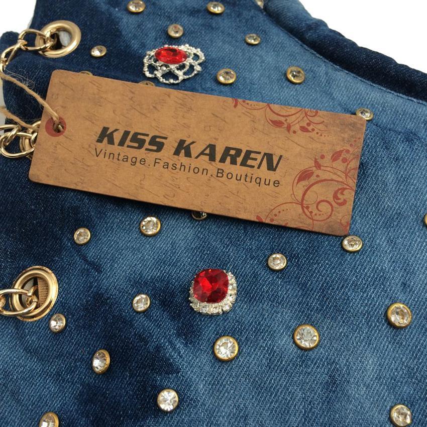 Großhandel KISS KAREN Luxury Strass Damen Tasche Nieten Fashion Totes Jeans Damen Schultertasche Denim Damen Handtaschen Designer Tote Bag Von