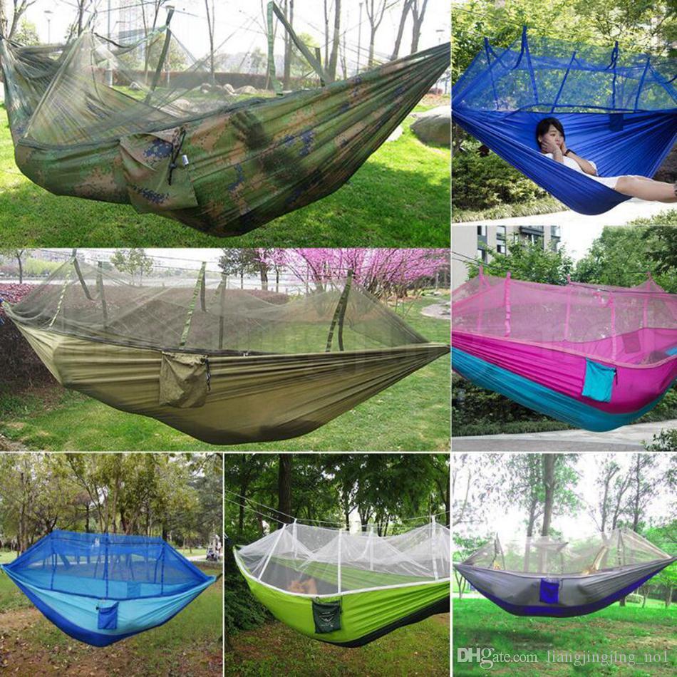 Mosquito Net Hammock 12 Couleurs 260 * 140cm Été en plein air en tissu de parachute en tissu de camping Camping Tente de camping Camping Swing Swiming Lit 12pcs OOA2117